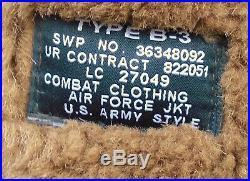 Usaf B3 Combat Clothing Sheepskin Leather Flying Flight Winter Jacket Sz 50