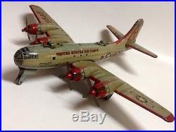 VINTAGE 1950 USAF B-29 BOMBER AIRPLANE TIN LITHO FRICTION Made in JAPAN YONEZAWA