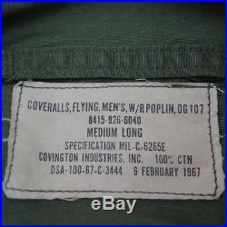 Vintage Original Usaf Us Air Force Flying Coverall Poplin Og107 Medium Long 1967