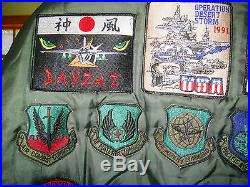 Vintage Usaf Flight Jacket Us Military Air Force Nylon Mens Bomber With Patches