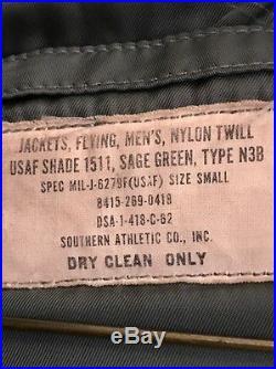 VINTAGE USAF FLYING JACKET NYLON Twill SIZE Small MIL-J 6279 F