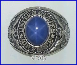 VINTAGE United States Air Force Jostens 10k Gold Blue Star Sapphire Ring