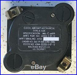 Vietnam Era USAF Waltham Watch Co A-13A Aircraft Chrono Clock 22322-S-ET-12