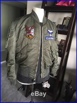 Vietnam War USAF L2B FLIGHT JACKET US Air Force Mil. Uniform Large! Nice