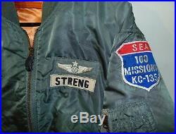 Vietnam War USAF L-2B Flight Jacket KC-135 Patches 100 Missions Kadena AB Japan