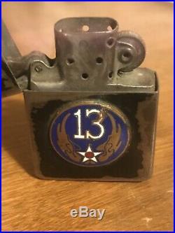 Vintage 1942 WW2 4 Barrel Hinge Black Crackle Zippo Lighter- 13th Air Force