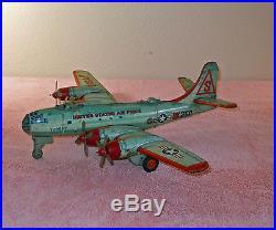 Vintage 1950's Yonezawa Japan USAF BK250 SUPERFORTRESS Airplane Tin Friction