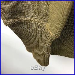 Vintage 30s C2 Army Air Force Cardigan Sweater Jacket Wool Zip WWII Sz 40 Medium