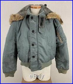 Vintage 60's USAF Air Force Coyote Fur Flight Jacket N2B Style Chinstrap