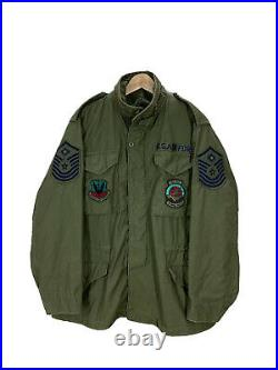 Vintage 70s USAF Air Force M65 Field Jacket First Sargent Patches Medium EUC