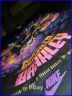 Vintage 90s NIKE Air Force 1992 GODZILLA vs CHARLES BARKLEY T-Shirt sz XL New
