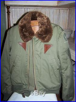 Vintage ARMY AIR FORCES Flight Jacket 36 Bomber Fur Collar Rough Wear Clothing