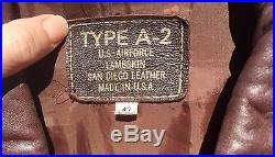 Vintage A-2 BROWN LEATHER MILITARY USAF US AIR FORCE Flight Bomber PILOT Jacket