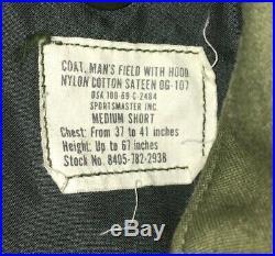 Vintage Air Force Men's M-65 Vietnam Field Jacket With Hood Size Med Short