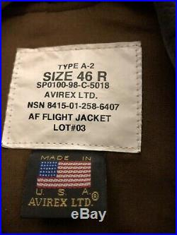 Vintage Air Force USAF A-2 Brown Leather Flight Crew Bomber Jacket sz 46R