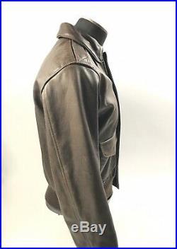 Vintage Avirex Flight Bomber Type A-2 USAF Dark Brown Leather Jacket Medium 38