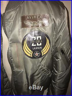 Vintage Avirex USAF Flyer Jacket Vietnam Patches Men Size Medium Reversible EUC