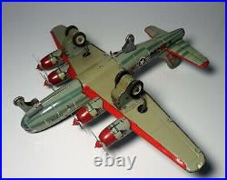 Vintage Tin Litho B-50 Boeing Superfortress USAF Airplane Friction Plane with Box