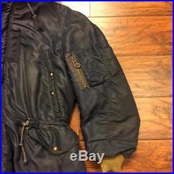 Vintage Type N-3a Masland Navy Blue Miltary Usaf Air Force Flight Bomber Jacket