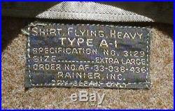 Vintage USAF A-1 flying shirt-heavy OD wool XL Rare