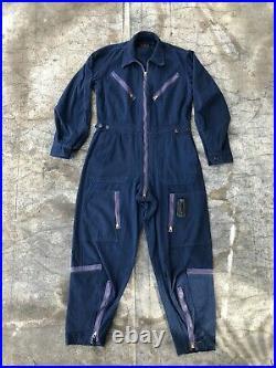 Vintage USAF Air Force Flight Suit L-1A Rare Navy Blue Light Flying Wool Gab M L