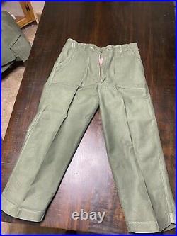 Vintage USMC named OG-107 jacket and pants WW2 HBT Herringbone USMC USN USAF