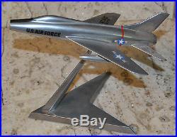 Vintage US Air Force USAF F-100 Super Sabre Metal Desktop Airplane