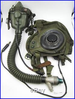 Vintage US Army / Air Force Nylon & Leather Pilot Summer Flying Helmet & Mask