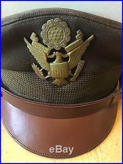 Vintage US WWII United States Army Air Force Lieutenant Visor Hat Columbin Mfg