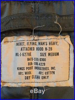 Vintage Us Air Force N-2b Flight Parka Jacket Real Fur Conmar Zipper Men Medium