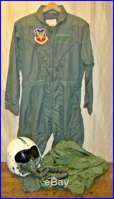 76db77764e5 Vintage Vietnam War Era US Air Force ID d Jet Fighter Pilot Helmet Flight  Suit