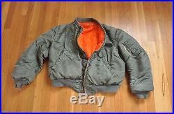 Vintage Vietnam War MA-1 USAF Air Force Flying Bomber Reversible Wool Jacket L