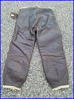 Vintage WW2 1940s US Army Air Forces B1 Shearling Flight Pants Trousers Mens L