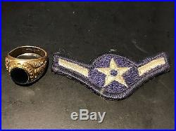 Vintage WW2 United States Air Force 10kt Gold Ring with WW2 Air Force Patch