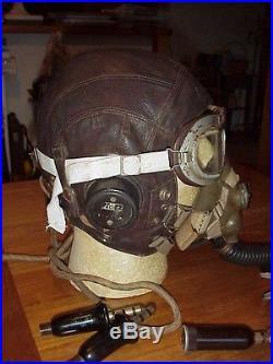 Vintage WWII RAF Royal Air Force Pilots Type C Flying Helmet O2 Mask Goggles Set