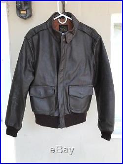 Vntg Avirex Ltd A2 Brown Bomber Air Force Aviator Goatskin Leather Jacket 40 USA