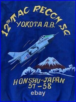 Vtg 12th Tac Recon Sq USAAF Souvenir Jacket WWII Yokota Honshu Japan Air Force