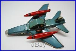Vtg Rare 1960's Yonezawa Japan Tin Usaf Jet Plane Base & Radar Tower Super Saber