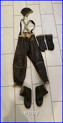 Vtg WW2 Army Air Forces Type B-1 Leather Bomber Trousers Flight Pants, Helmet, etc