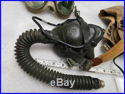 WW2 Pilots Helmet Goggles Oxygen Mask Demand A-14 Vintage Air Force Army Flying