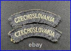 WW2 RAF Czechoslovakia Nationality Shoulder Titles Cloth Badges x 100% Original