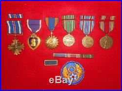 WW2 US 8th Air Force DFC, Purple Heart, Engraved Medal Group