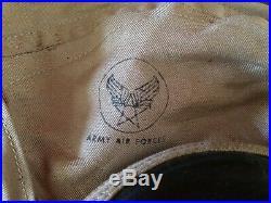 WW2 US Army Air Force AN-H-15 Canvas Flight Helmet Size Medium USAAF Pilot