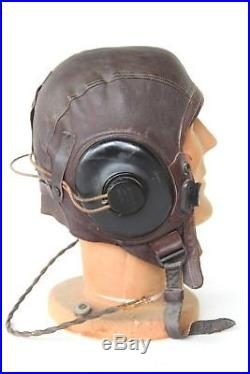WW2 US Army Air Force Leather Aviator Pilot Cap Type A-11 in Size Medium WIRED