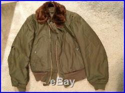WW2 US army air forces B15 flight jacket size 36 zipper broken