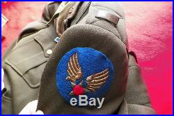 WWII 15th AIR FORCE 2nd BOMB GROUP AIR CORPS PILOT JACKET & LETTER LOT W DOGTAGS