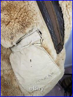 WWII Air Force Pilot, US Army B-7 Arctic Sheepskin Coat 40R Aero Leather Military