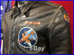 WWII Cooper A-2 a2 AAF Jacket Army Air Forces size 40 Nice Nose art