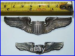WWII US Air Force Sterling Silver Service Captain Pilot Wings Pins USAF Photo b5