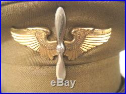 WWII US Army Air Force AAF Cadet Pilot Visor Cap or Hat withLeather Brim Sz 6 7/8